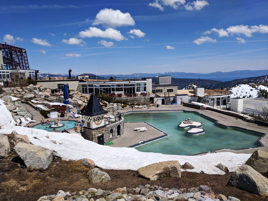 Hot tub at High Camp at Squaw Valley with a view of mountains and Lake Tahoe