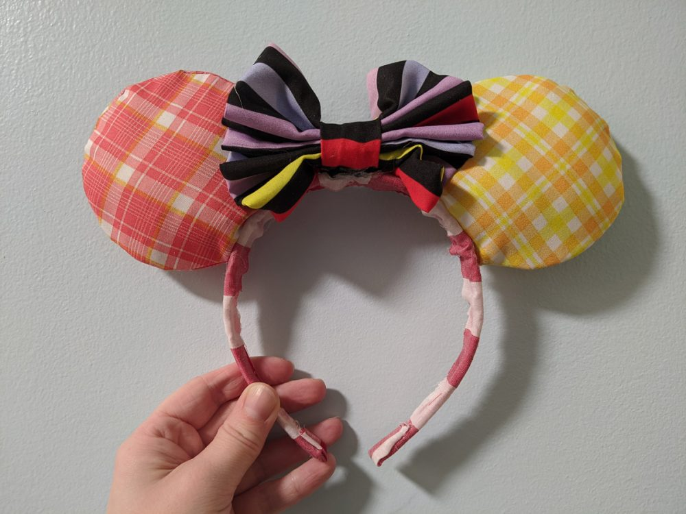 Homemade Minnie Mouse ears with Hoop Dee Doo fabric