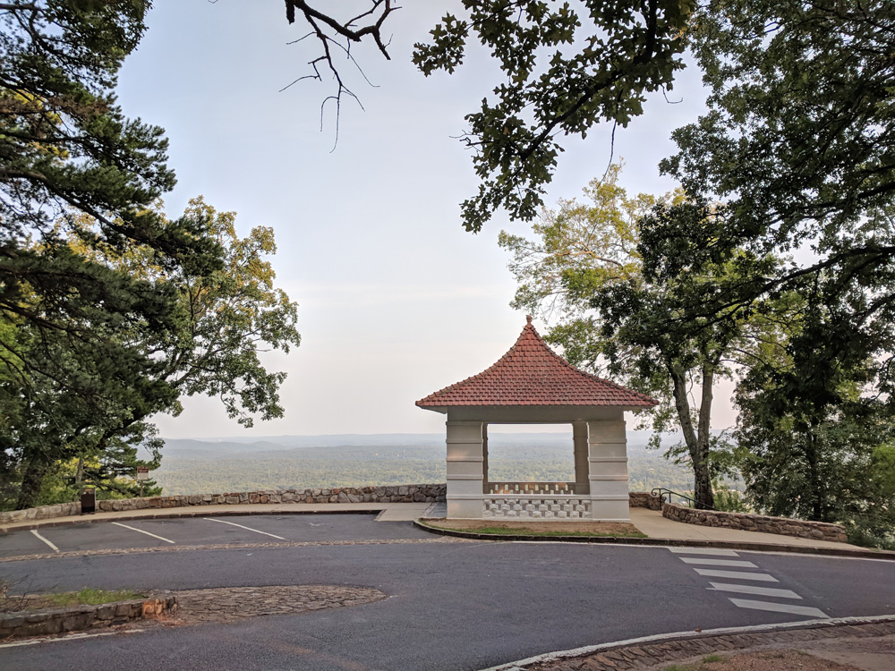 Gazebo overlooking a valley in Hot Springs National Park