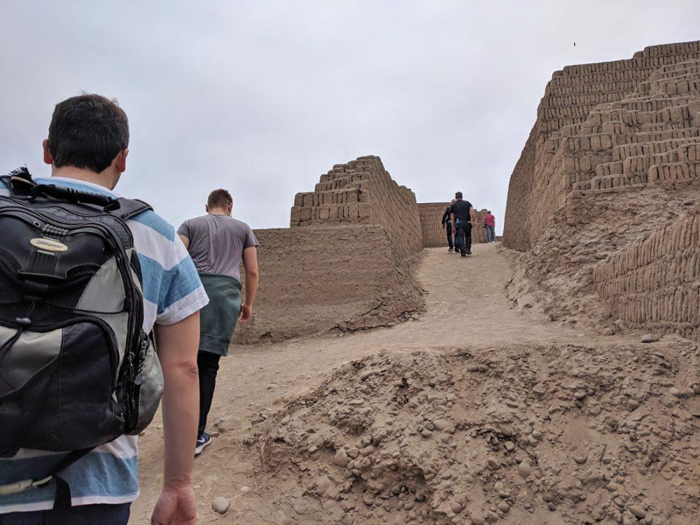 Climbing up the Huaca Pucllana pyramid.