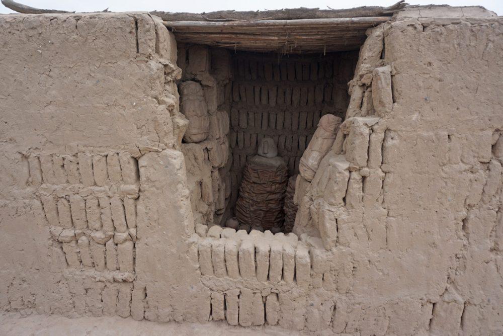 Mummies at the Huaca Pucllana ruins in Lima