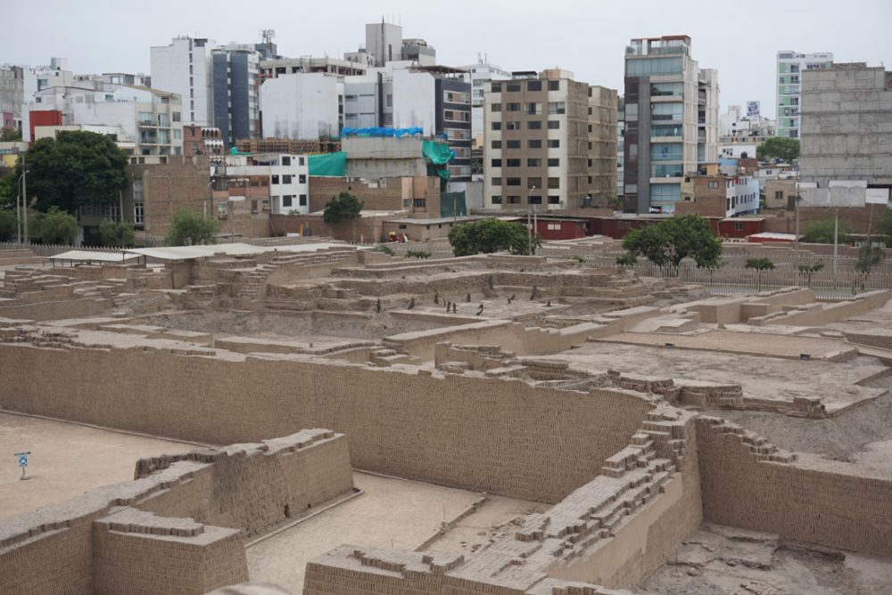 View of adobe walls from the top of the Huaca Pucllana pyramid