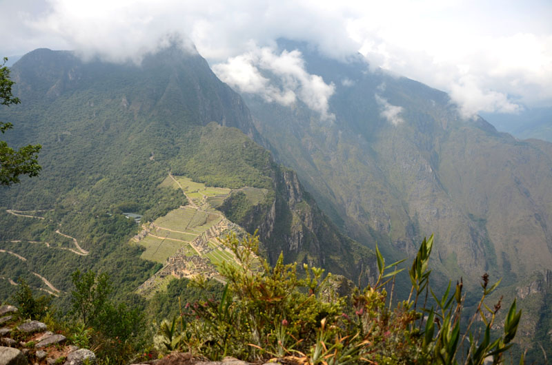 Photo of the Machu Picchu ruins from the top of Huayna Picchu