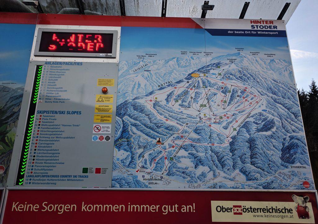 Ski run map at Hinterstoder