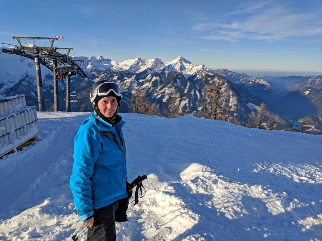 View from the top of Hinterstoder Hoss in Austria - skiing in the Alps