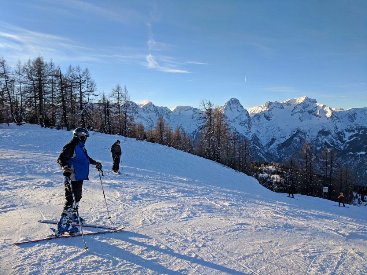 Skiing in the Alps at Hinterstoder, Austria