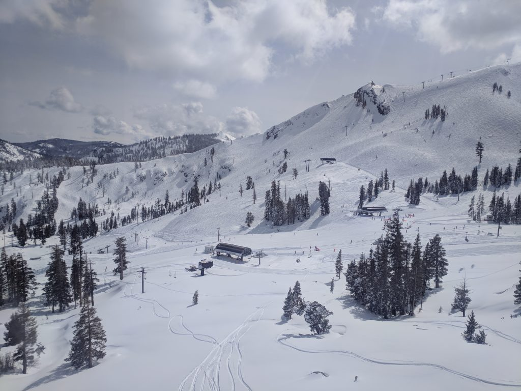 Riding up the funitel at Squaw Valley