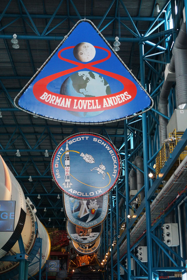 Apollo mission patches on display at the Kennedy Space Center