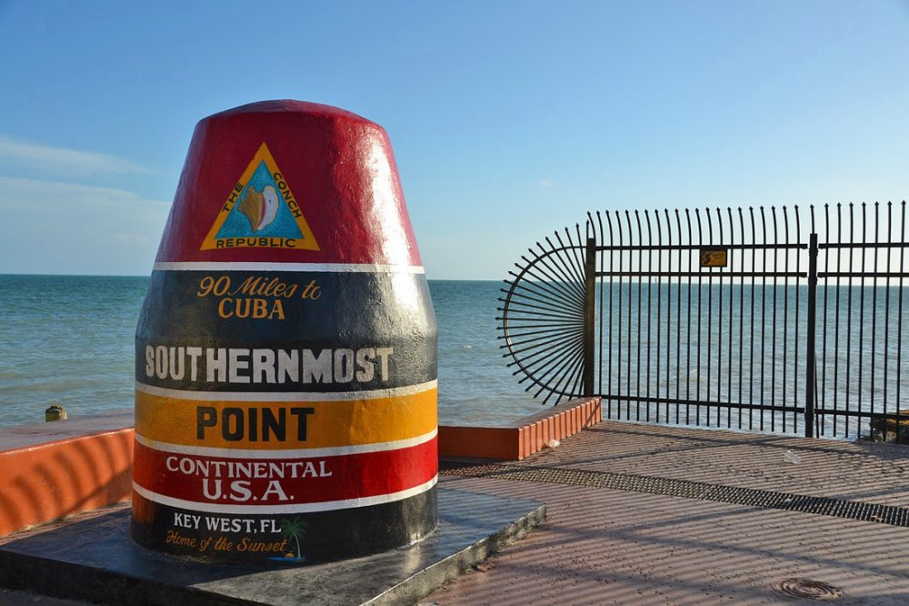 Marker on Key West denoting the southernmost point in the continental US