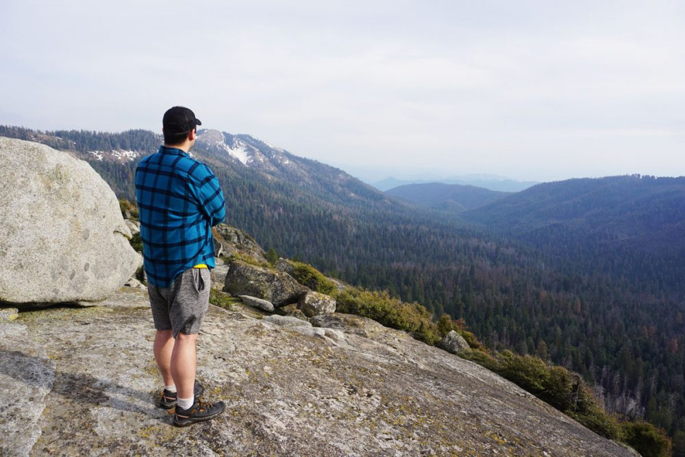 Man looking out at the mountains in Kings Canyon National Park