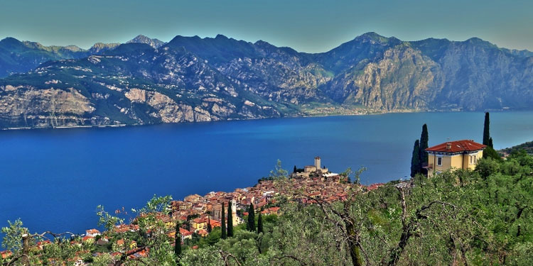 Blue waters of Lake Garda in northern Italy