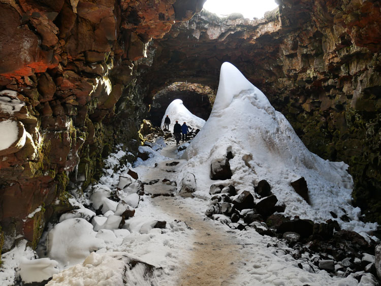 Snow inside a lava tunnel in Iceland