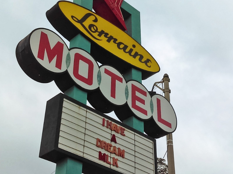 Lorraine Motel sign at the National Civil Rights Museum