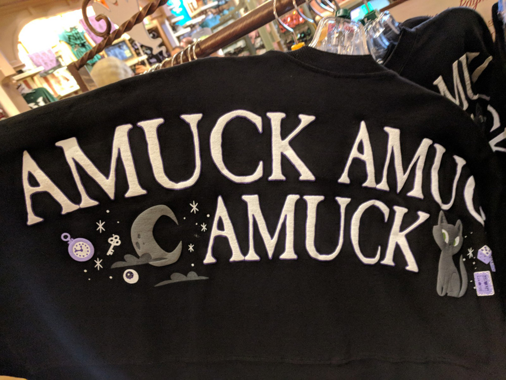 """Special edition Mickey's Not So Scary Halloween Party exclusive shirt that says """"amuck, amuck, amuck"""""""