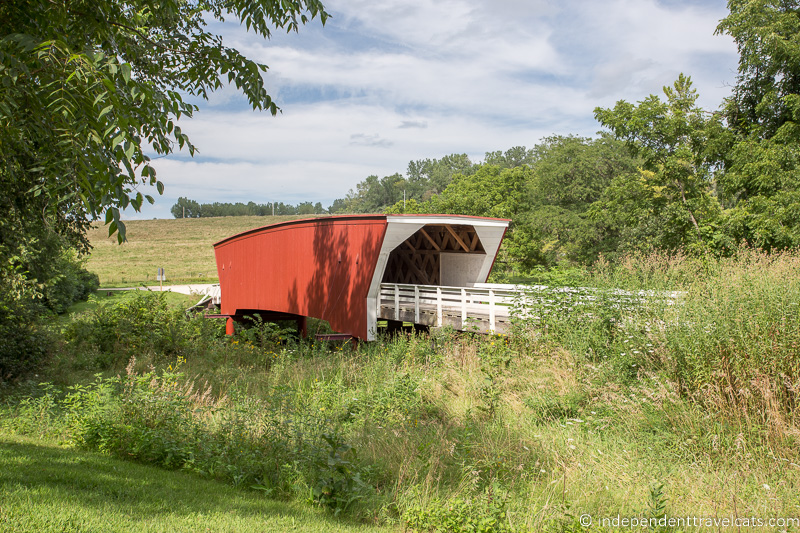 Red covered bridge in Madison County