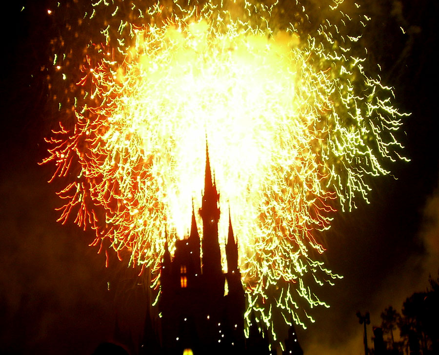 Silhouette of Cinderella Castle in front of fireworks
