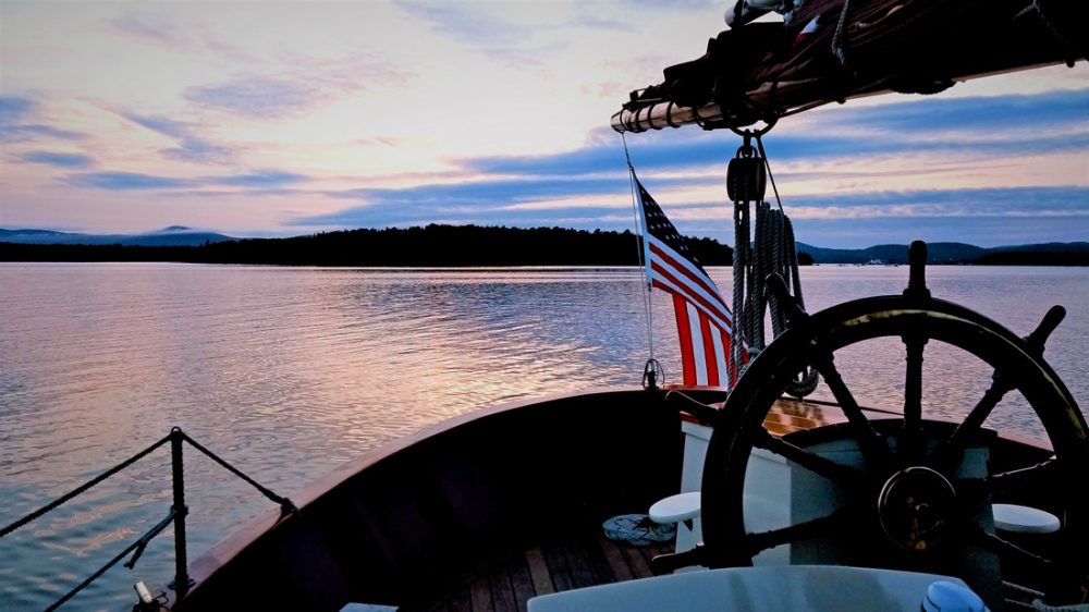Sunset view from the deck of a Windjammer cruise in Maine