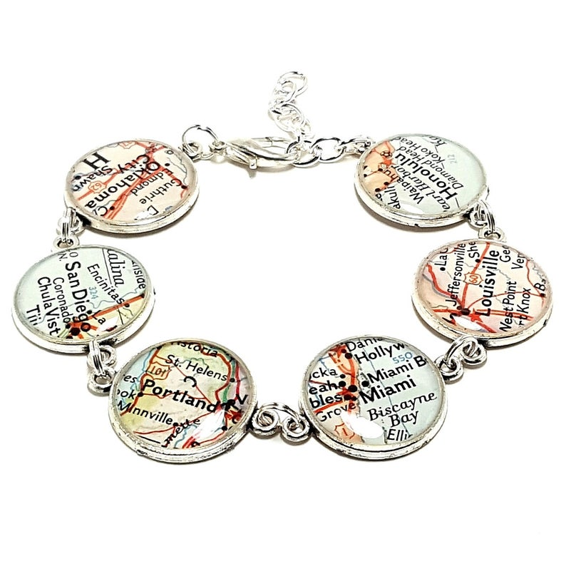Bracelet made of map snippets