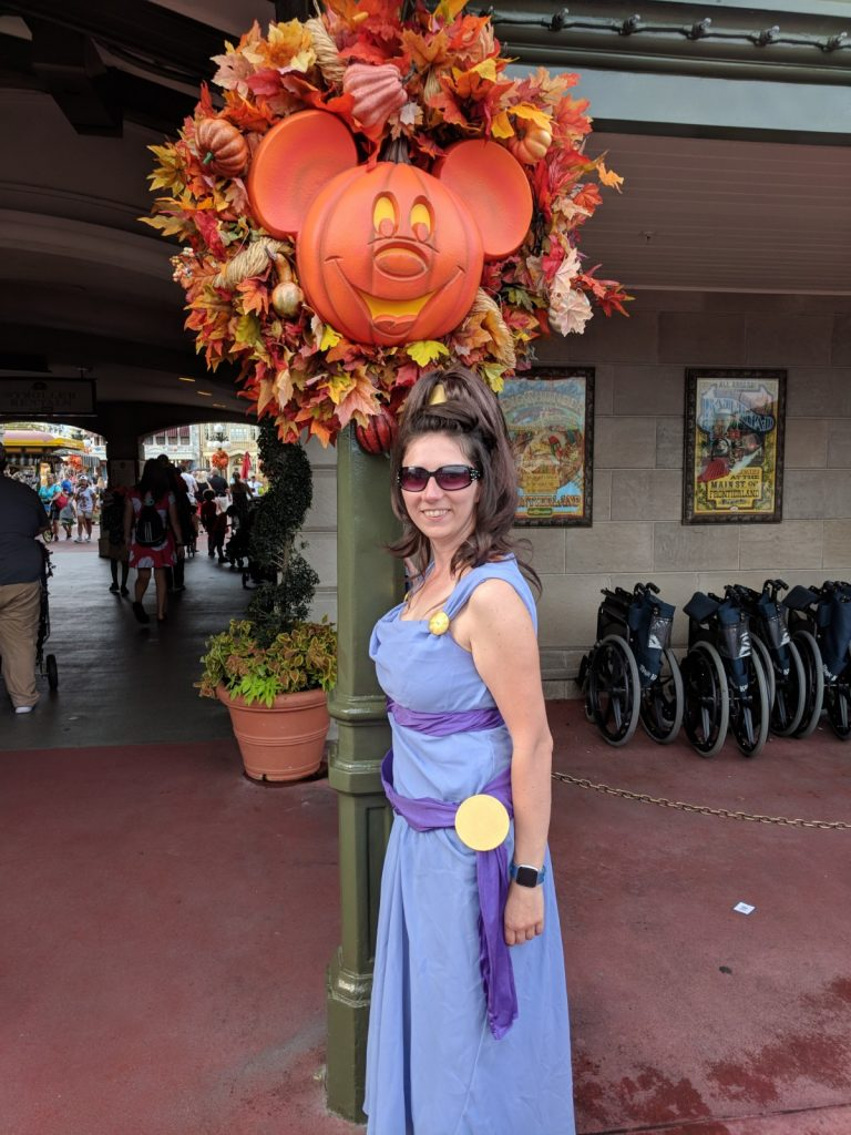 Woman dressed in a Megara costume at Mickey's Not So Scary Halloween Party