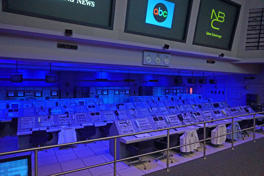Mission Control display at the Kennedy Space Center