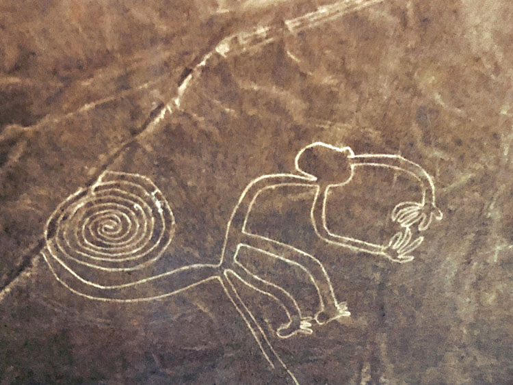 Enormous monkey shape formation of Nazca lines viewed from the air