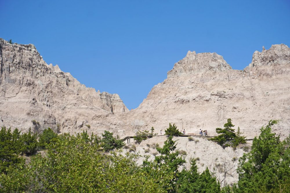 Tall rock formations looming above green pine trees under bright blue skies