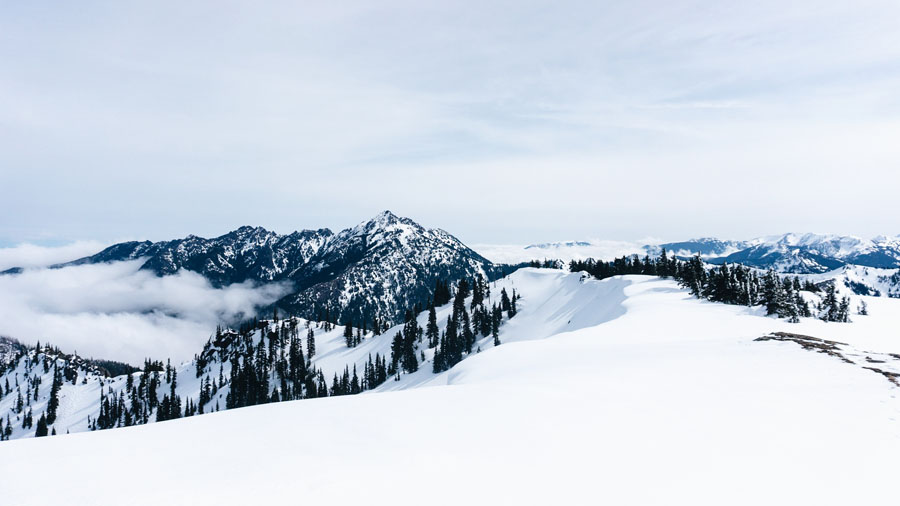 Snow covered mountains in Olympic National Park
