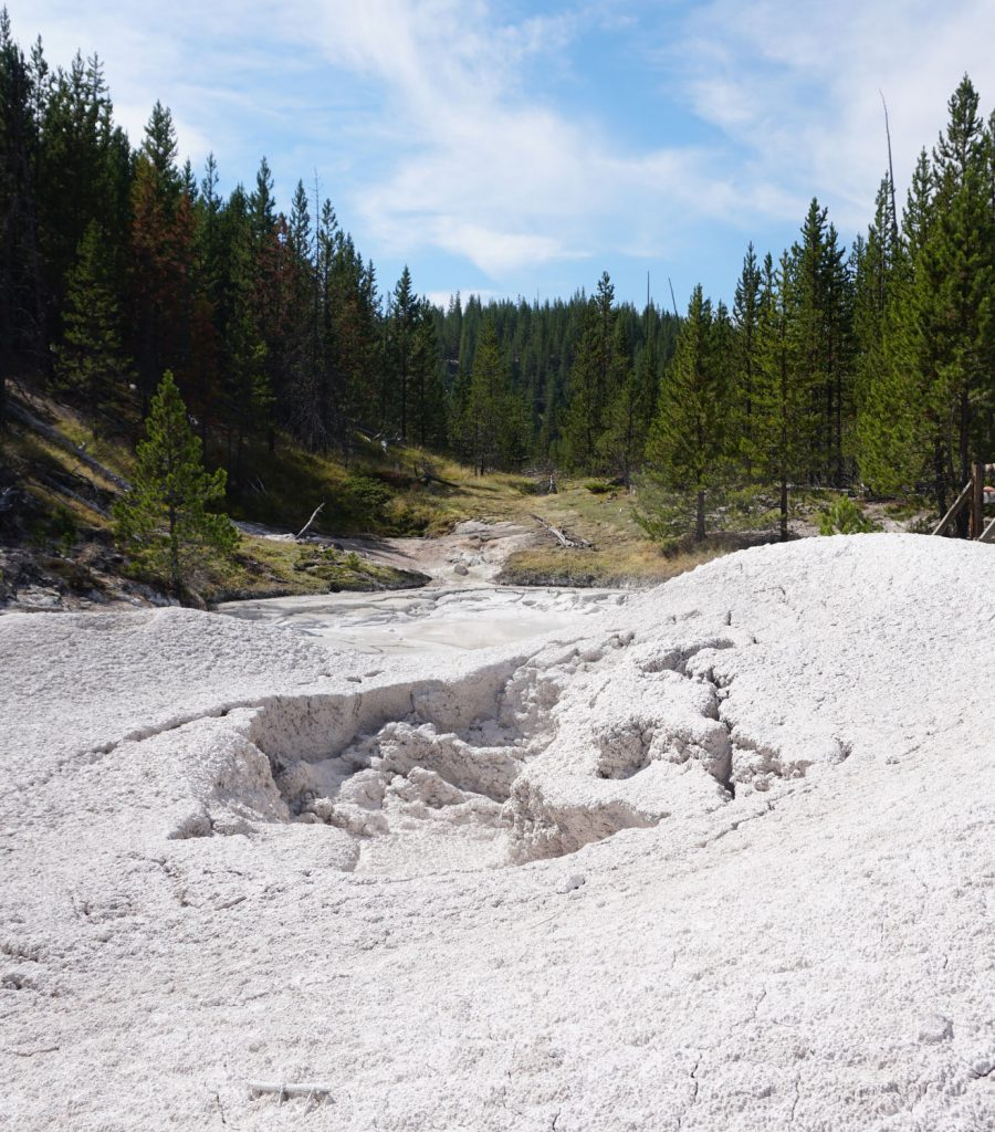 White mud splattered out of a hot spring in Yellowstone