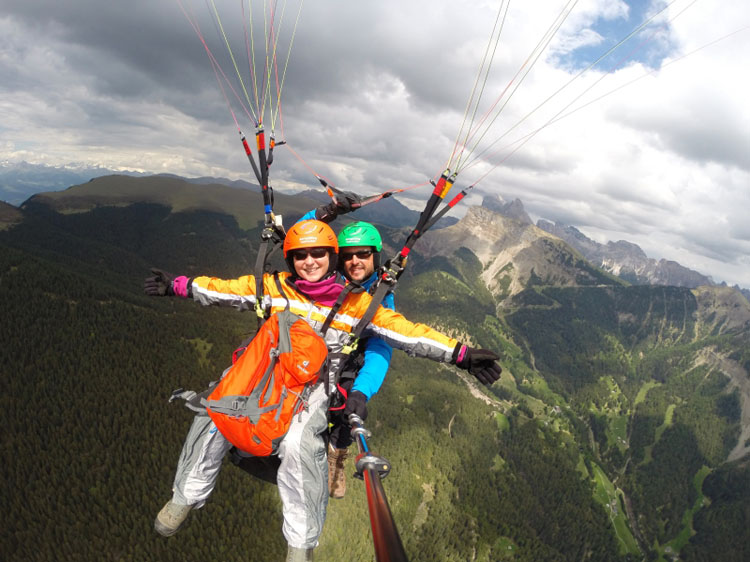 Paragliders over the Dolomites in Italy