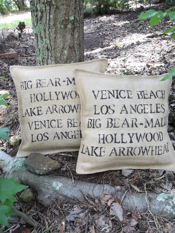 Custom printed throw pillows with travel destinations