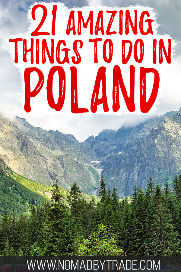 """Trees and mountains in the Polish Tatras with text overlay reading """"21 amazing things to do in Poland"""""""