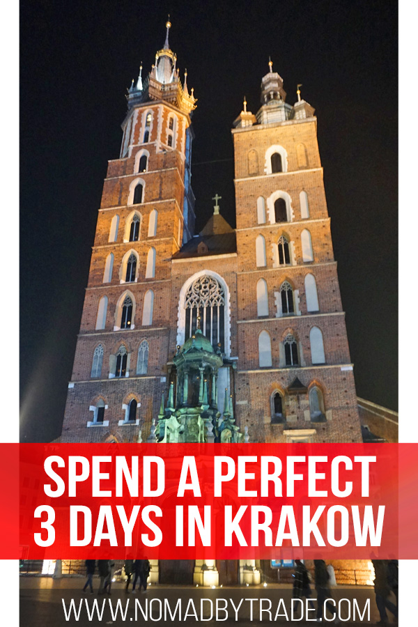 St. Mary's Basilica at night with text overlay