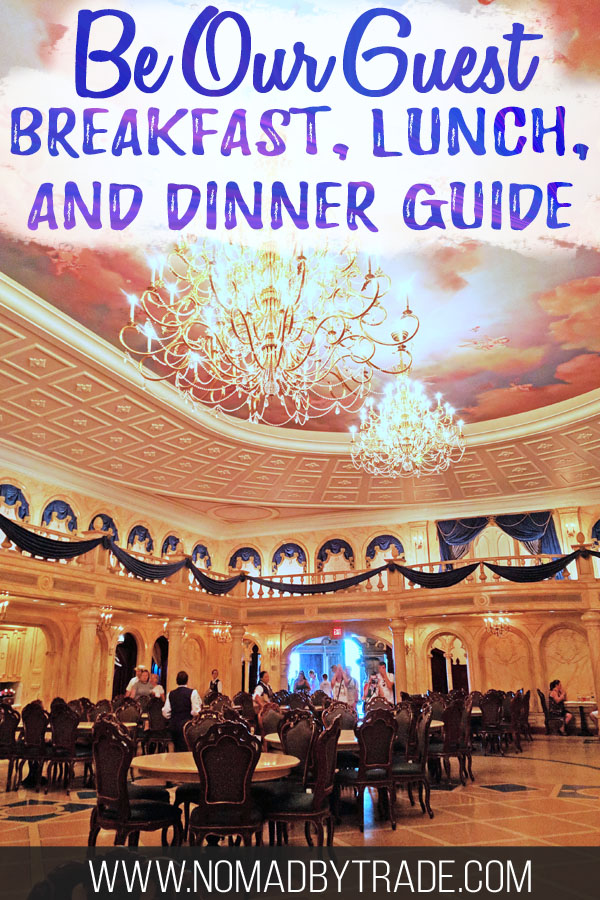"""Ballroom at Be Our Guest with text overlay reading """"Be Our Guest breakfast, lunch, and dinner guide"""""""