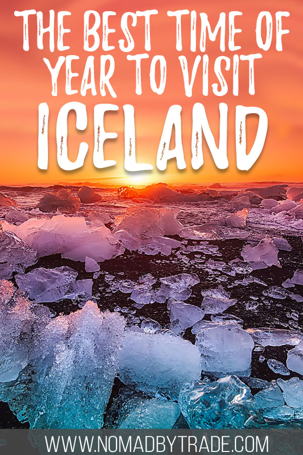 """Ice boulders on a black sand beach at sunset with text overlay reading """"The best time of year to visit Iceland"""""""