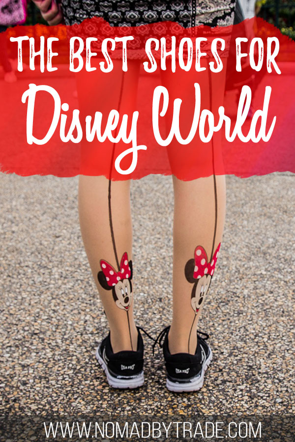 """Woman wearing shoes and Minnie Mouse tights with text overlay reading """"The best shoes for Disney World"""""""