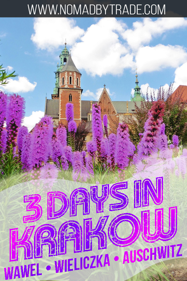 Wawel Cathedral with flowers and text overlay