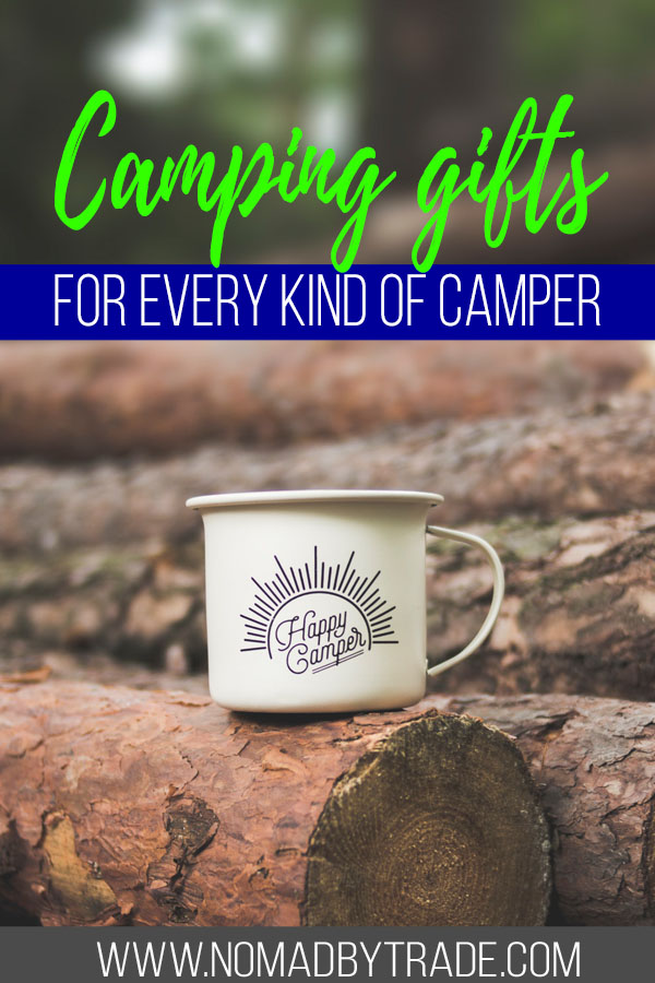 "Photo of a camp mug with text overlay reading ""camping gifts for every kind of camper"""