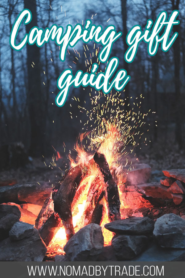 "Roaring campfire with text overlay reading ""Camping gift guide"""