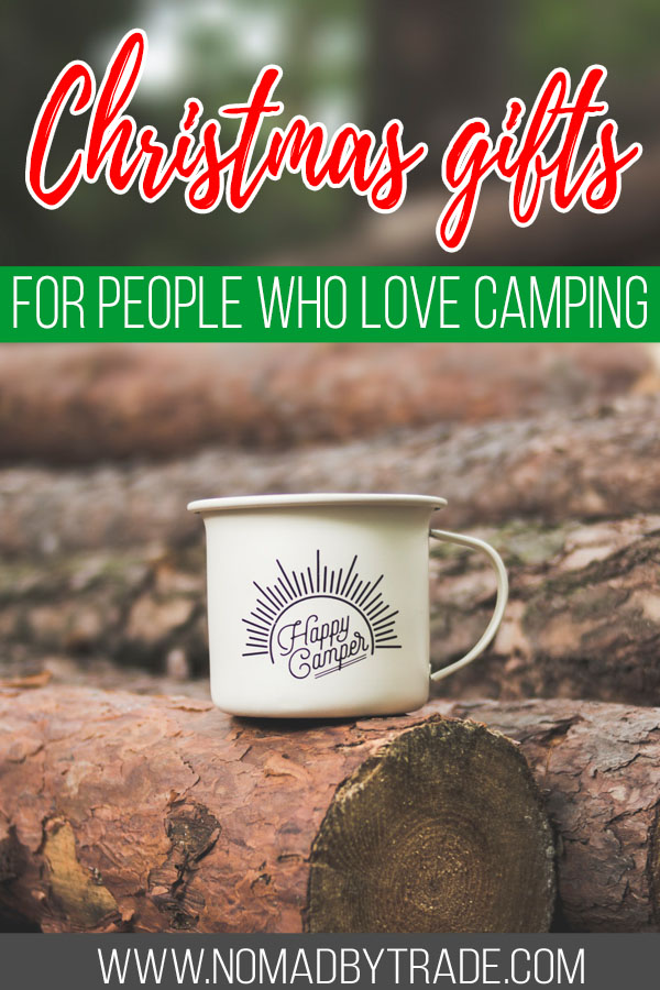 "Camp mug on logs with text overlay reading ""Christmas gifts for people who love to camp"""