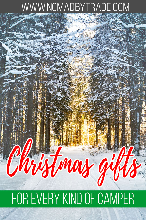 """Snowy trees with text overlay reading """"Christmas gifts for every kind of camper"""""""