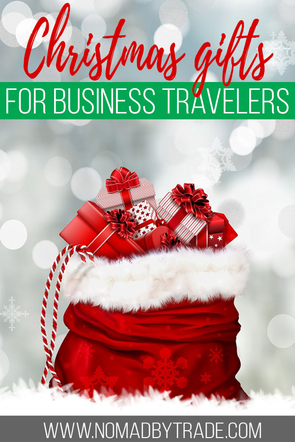 """Sack of presents with text overlay reading """"Christmas gifts for business travelers"""""""