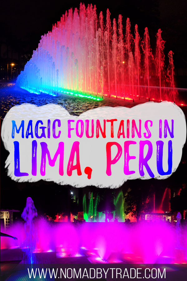 Brightly colored fountains at the Parque de las Aguas with text overlay