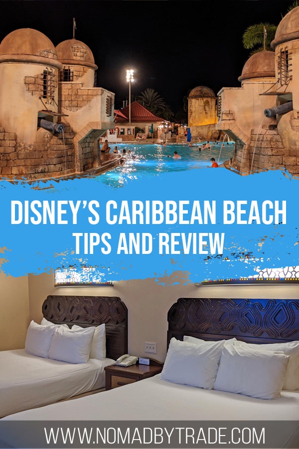 """Photo collage of a fortress-themed pool and hotel beds with text overlay reading """"Disney's Caribbean Beach Resort review and tips"""""""