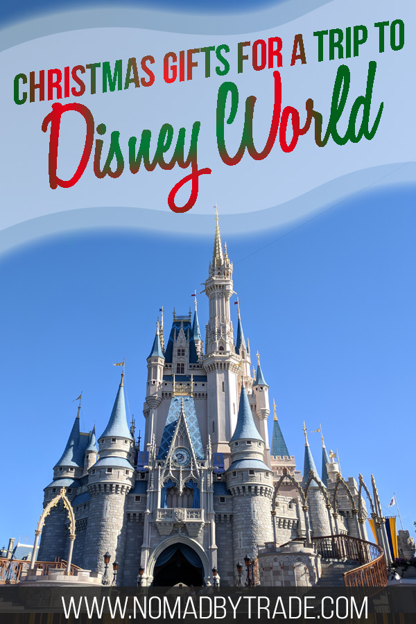 """Cinderella Castle with text overlay reading """"Christmas gifts for a trip to Disney World"""""""