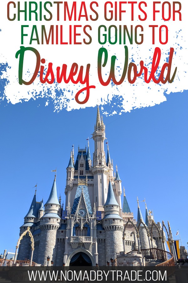 """Cinderella Castle with text overlay reading """"Christmas gifts for families going to Disney World"""""""