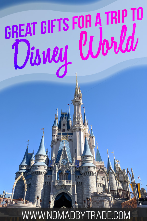 """Cinderella Castle with text overlay reading """"Great gifts for a trip to Disney World"""""""