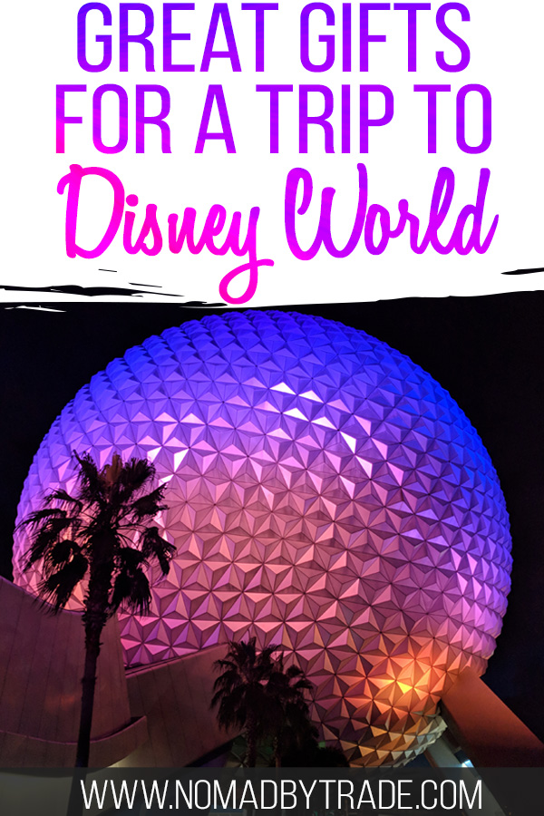 """Spaceship Earth with text overlay reading """"Great gifts for a trip to Disney World"""""""