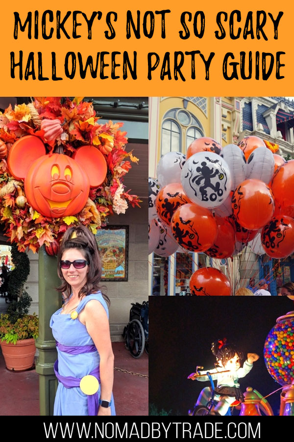 """Collage of photos from a Disney Halloween party with text overlay reading """"Mickey's Not so Scary Halloween Party Guide"""""""