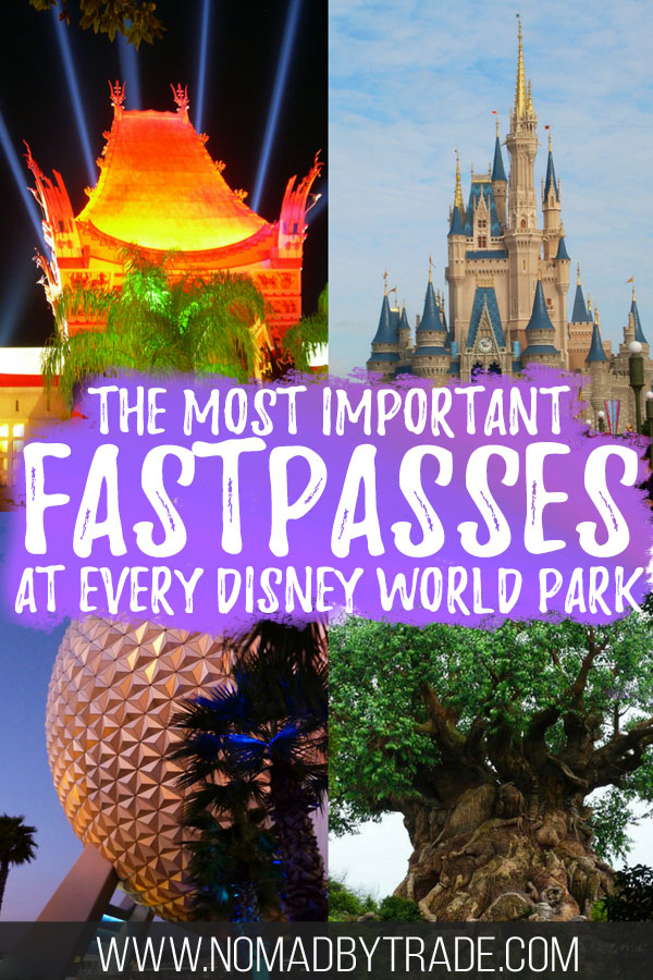 """Collage of Disney World images with text overlay reading """"The most important FastPasses at every Disney World park"""""""