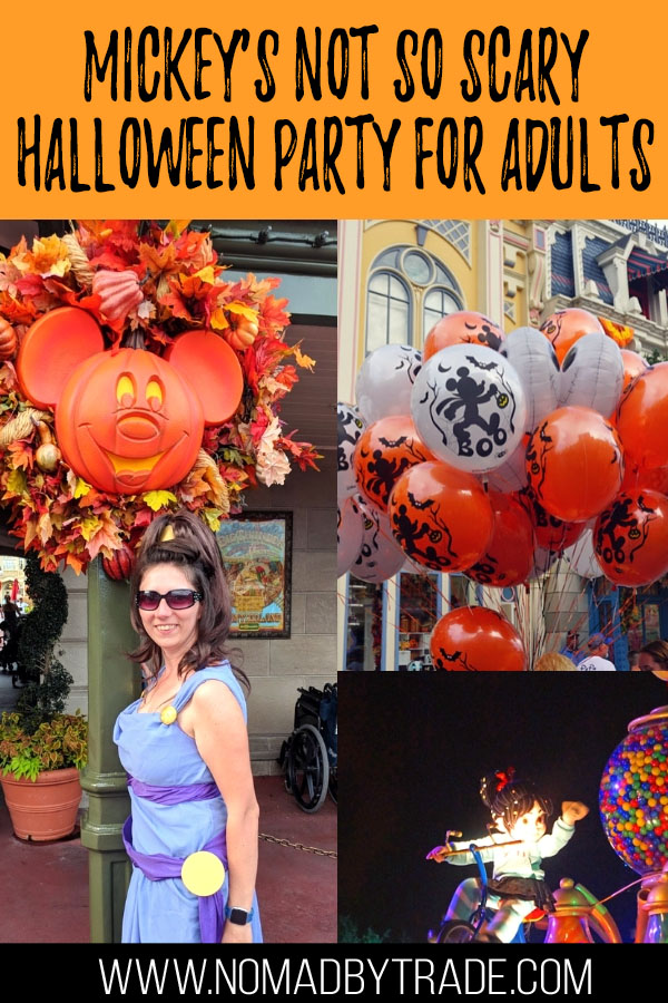 """Collage of photos from MNSSHP with text overlay reading """"Mickey's Not so Scary Halloween Party for Adults"""""""